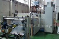Mobert Roll to Roll 130 for plastic bag making is PLC controlled and servo motor driven, operated by interface terminal and controls print registration. Condition is good.